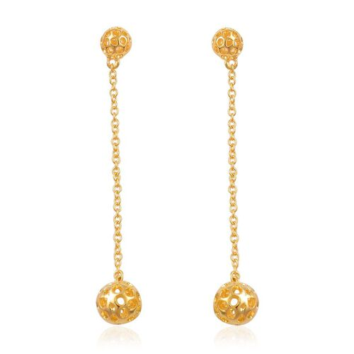 RACHEL GALLEY Yellow Gold Overlay Sterling Silver Mini Globe Earrings (with Push Back), Silver wt 3.87 Gms.