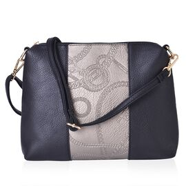 Black and Metallic Gold Colour Crossbody Bag with Adjustable and Removable Strap (28x23x5.5 Cm)