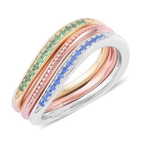 ELANZA AAA Simulated Emerald and Simulated Blue Spinel 3 Ring Set in Yellow Gold, Rose Gold and Rhodium Plated Sterling Silver