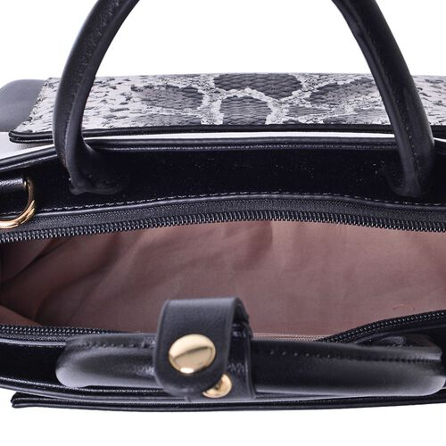 MANHATTAN COLLECTION Nolita Snake Pattern Tote Bag with Adjustable and Removable Shoulder Strap (Size 30x23x13 Cm)