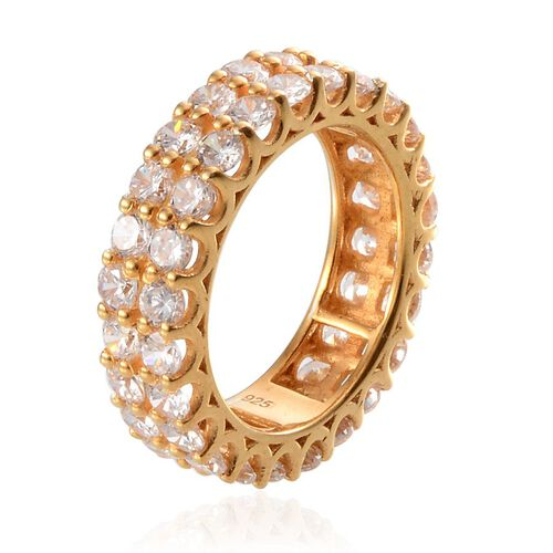 Simulated Diamond (Rnd) 2 Row Full Eternity Ring in Yellow Gold Overlay Sterling Silver 9.250 Ct.