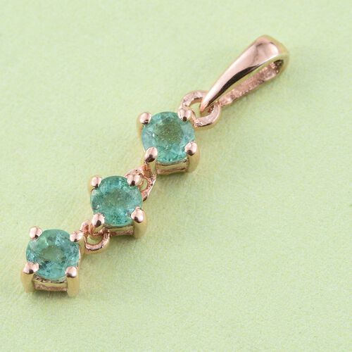 Zambian Emerald 0.50 Ct Trilogy Pendant in Rose Gold Overlay