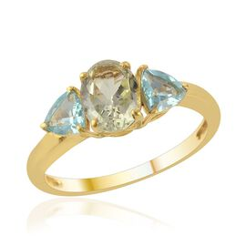Green Sillimanite (Ovl 1.25 Ct) Paraibe Apatite Ring in 14K Gold Overlay Sterling Silver  2.000 Ct.