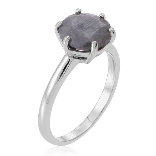 Natural Silver Sapphire (Rnd) Solitaire Ring in Rhodium Plated Sterling Silver 3.500 Ct.