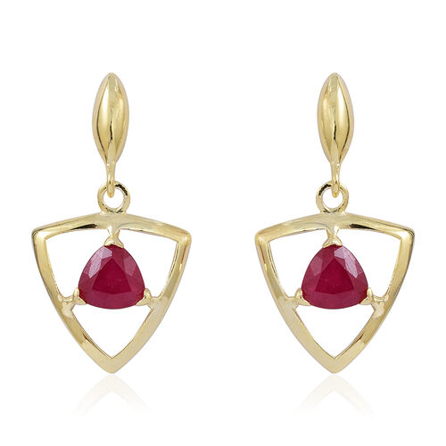 African Ruby (Trl) Earrings (with Push Back) in 14K Gold Overlay Sterling Silver 2.000 Ct.