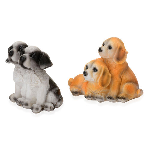 Set of 2 - Home Decor - Two Black and White, Two Light Orange and White Dog with Resin