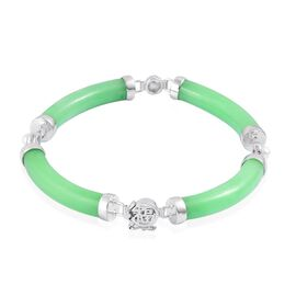 Green Jade and Fresh Water White Pearl Bracelet (Size 7.5) in Rhodium Plated Sterling Silver 65.850 Ct.