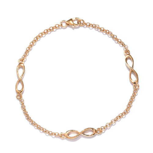 14K Gold Overlay Sterling Silver Infinity Bracelet (Size 7.5), Silver wt 3.75 Gms.
