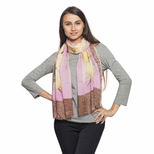 Chocolate, Yellow and Multi Colour Hibiscus Flower Printed Scarf (Size 180x70 Cm)