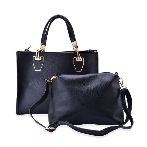 Set of 2 -Bianca Black Colour Large and Small with Adjustable and Removable Shoulder Strap Handbag (Size 31x24x130 Cm, 25x17x9.5 Cm)