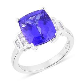 RHAPSODY 950 Platinum AAAA Tanzanite (Cush 5.75 Ct), Diamond (VS/E-F) Ring 6.000 Ct.