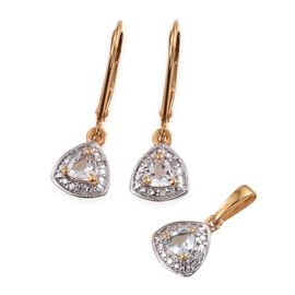 White Topaz 0.75 Carat Trillion Pendant and Earrings Silver Set in Gold Overlay with Diamonds
