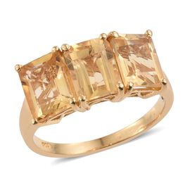 Citrine (Oct) Trilogy Ring in 14K Gold Overlay Sterling Silver 4.000 Ct.