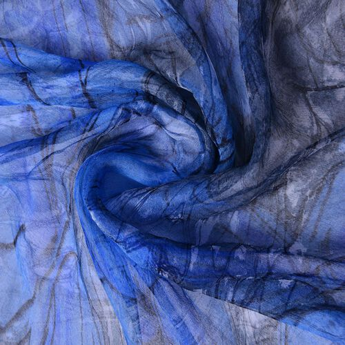 40% Mulberry Silk Blue and Black Colour Butterfly Pattern Scarf (Size 170X105 Cm)