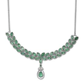 Kagem Zambian Emerald (Pear 0.60 Ct) Necklace (Size 18) in Platinum Overlay Sterling Silver 7.500 Ct.