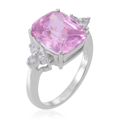 ELANZA AAA Simulated Kunzite (Cush), Simulated White Diamond Ring in Rhodium Plated Sterling Silver