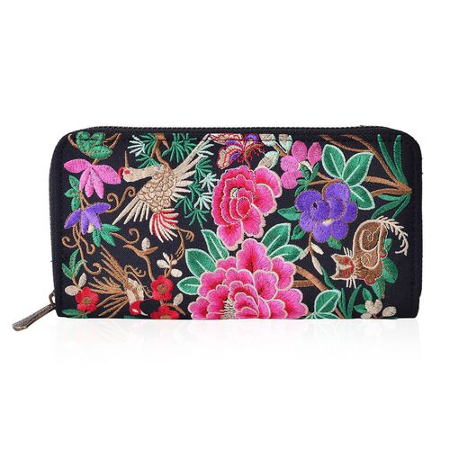 Shanghai Collection Pink, Green, Red and Multi Colour Floral and Bird Pattern Black Colour Ladies Wallet (Size 19x10x2 Cm)