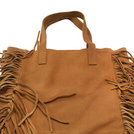 ( LIMITED COLLECTION ) Genuine Leather Tan Colour Tote Bag with Long Fringes (Size 36x30.5x12.75 Cm)