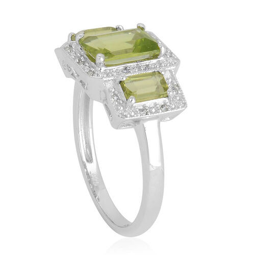 Hebei Peridot (Oct 1.50 Ct), White Topaz Ring in Platinum Overlay Sterling Silver 2.360 Ct.