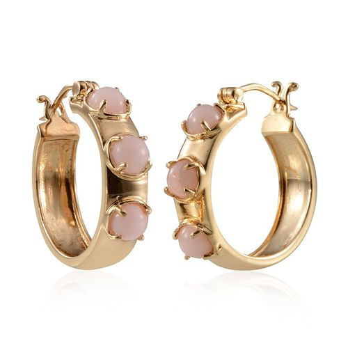 Peruvian Pink Opal (Rnd) Hoop Earrings in Yellow Gold Overlay Sterling Silver 3.000 Ct.