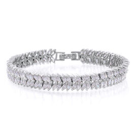ELANZA AAA Simulated White Diamond (Mrq) Bracelet (Size 7.5) in Rhodium Plated Sterling Silver