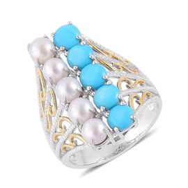 Fresh Water White Pearl (Rnd), Arizona Sleeping Beauty Turquoise Ring in Rhodium Plated and Yellow Gold Overlay Sterling Silver