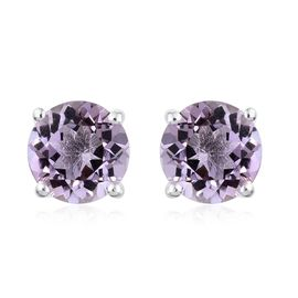Rose De France Amethyst (Rnd) Stud Earrings (with Push Back) in Sterling Silver 3.500 Ct.
