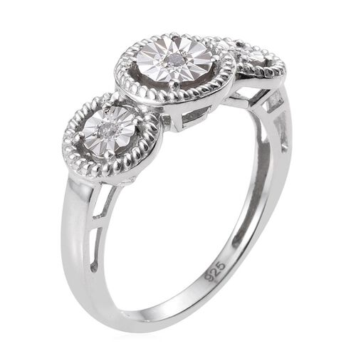 Diamond (Rnd) 3 Stone Ring in Platinum Overlay Sterling Silver 0.050 Ct.