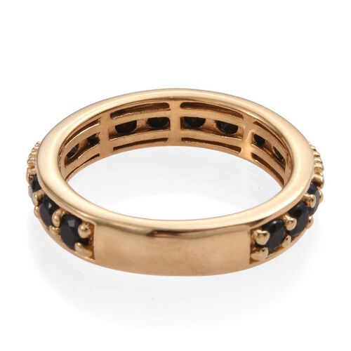 Boi Ploi Black Spinel Half Eternity Stacker Silver Ring in 14K Gold Overlay 2.000 Ct.