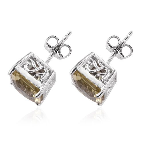 Ascher Cut Natural Ouro Verde Quartz (Oct) Stud Earrings (with Push Back) in Platinum Overlay Sterling Silver 6.750 Ct.
