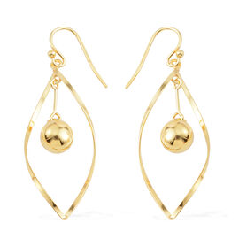 14K Gold Overlay Sterling Silver Drop Hook Earrings, Silver wt 4.80 Gms.