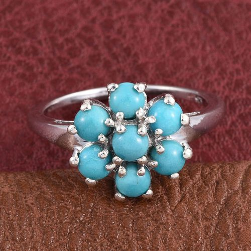 Kingman Turquoise (Rnd) 7 Stone Floral Ring in Platinum Overlay Sterling Silver 1.750 Ct.