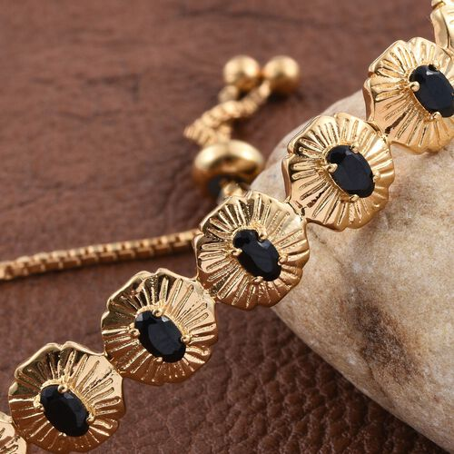 Boi Ploi Black Spinel (Ovl) Adjustable Bracelet (Size 6 to 9) in ION Plated 18K Yellow Gold Bond 2.250 Ct.