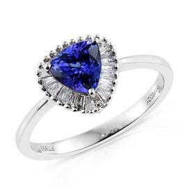 RHAPSODY 950 Platinum 1 Carat AAAA Tanzanite Halo Ring With Diamond VS E-F