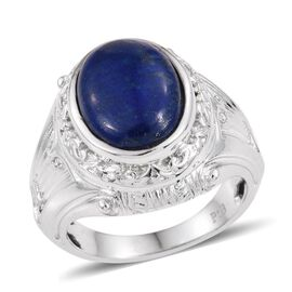 Lapis Lazuli (Ovl) Solitaire Ring in ION Plated Platinum Bond 6.750 Ct.