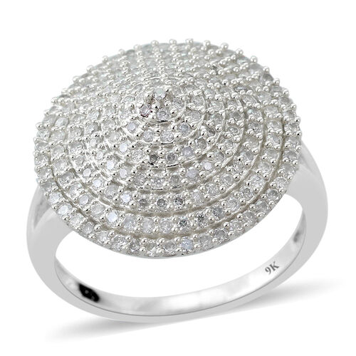 9K W Gold SGL Certified Diamond (Rnd) (I3/G-H) Cluster Ring 1.000 Ct.