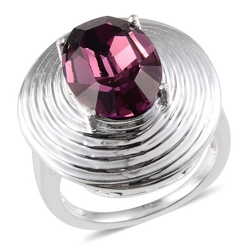 Crystal from Swarovski - Amethyst Colour Crystal (Ovl) Solitaire Ring in Sterling Silver 5.500 Ct.
