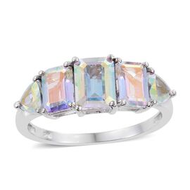 Mercury Mystic Topaz (Oct 1.75 Ct) Ring in Platinum Overlay Sterling Silver 5.250 Ct.