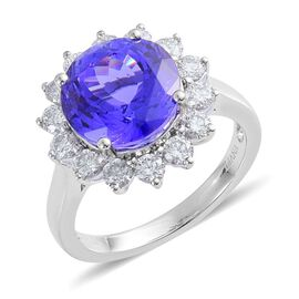 ILIANA 18K W Gold AAA Tanzanite (Rnd 6.00 Ct), Diamond Ring 7.000 Ct.