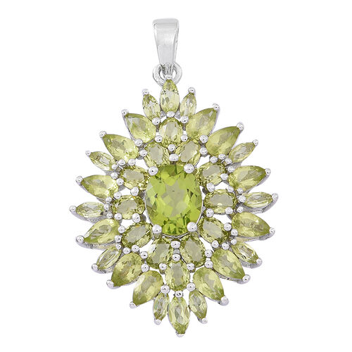 Hebei Peridot (Ovl) Cluster Pendant in Rhodium Plated Sterling Silver 8.000 Ct.