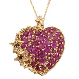 GP AAA Burmese Ruby (Rnd), Boi Ploi Black Spinel and Kanchanaburi Blue Sapphire Heart Pendant with Chain in 14K Gold Overlay Sterling Silver.