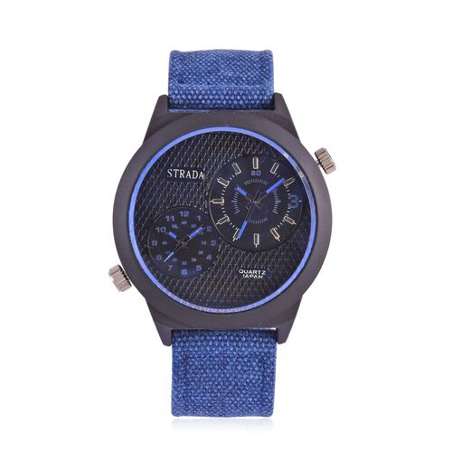 STRADA Japanese Movement Chronograph Look Black Dial Water Resistant Watch in Black Tone with Stainless Steel Back and Blue Strap