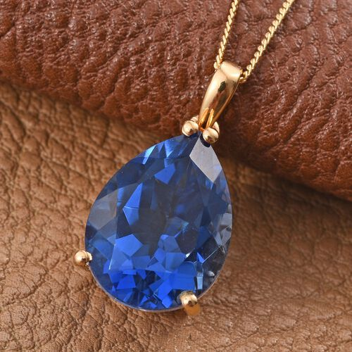 Ceylon Colour Quartz (Pear) Solitaire Pendant With Chain in 14K Gold Overlay Sterling Silver 8.000 Ct.