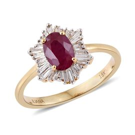 ILIANA 18K Yellow Gold 1.5 Carat AAAA Pigeon Blood Burmese Ruby Halo Ring with Baguette Diamond SI G-H