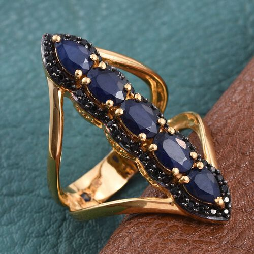 GP Diffused Blue Sapphire (Ovl), Boi Ploi Black Spinel and Kanchanaburi Blue Sapphire Ring in 14K Gold Overlay Sterling Silver 3.250 Ct.