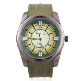 STRADA Japanese Movement Green and Black Colour Dial Water Resistant Watch in Black Tone with Stainless Steel Back and Green Silicone Strap