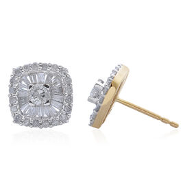 9K Yellow Gold 1 Carat Diamond Cluster Stud Earrings SGL Certified I3 G-H.