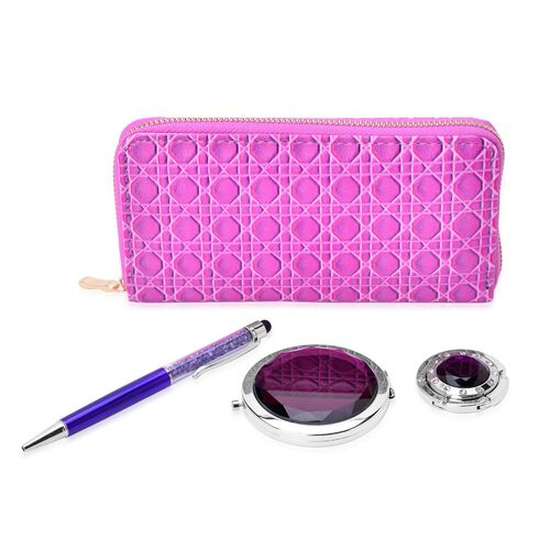 Set of 4 - Purple Colour Ladies Wallet (Size 19x9.5x3 Cm), Simulated Purple Diamond Filled Ball Pen (Black ink), White Austrian Crystal Studded Bag Hook and Compact Mirror