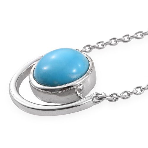 Arizona Sleeping Beauty Turquoise (Rnd) Solitaire Pendant with Chain in Platinum Overlay Sterling Silver 2.000 Ct.