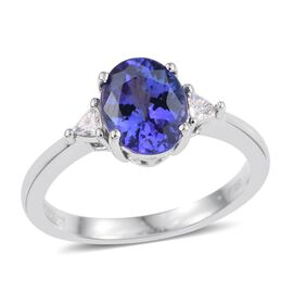 RHAPSODY 950 Platinum 2.25 Carat AAAA Tanzanite And Diamond (VS/E-F) Ring